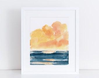 Watercolor Print, Landscape, Ocean, Sea, Beach, Sunset, Clouds, Fine Art, Modern Art, Ink, Minimalist, Nature, Abstract Art