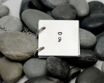 Semicolon Necklace - My Story Isn't Over - Semi Colon Jewelry - Personalized Necklace - Encouragement Jewelry
