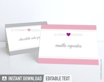 Bridal Shower - Food Labels - Place Cards - Scalloped theme - Pink - INSTANT DOWNLOAD - Printable PDF with Editable Text