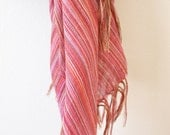 Pink multi-colored stripe hand-woven cotton scarf from Ethiopia