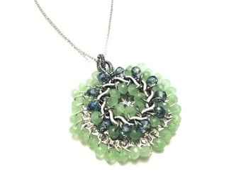 Mint Green Blue Long Silver Necklace with Beaded Pendant