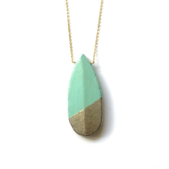 Long Mint Pendant Necklace Hand Dipped Gold or Silver Sparkle - Teardrop Jewelry by A Simple Kind of Fancy