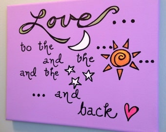 Love to the Moon...8 x 10 canvas
