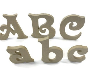 MDF Wooden Alphabet Freestanding Letters & Numbers Victorian Font