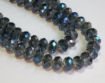 Electric Blue Purple crystal faceted rondelle 12x8mm full strand 009-950