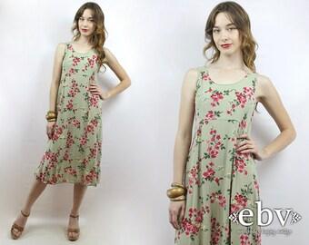 Vintage 90s Sage Floral Midi Dress XS S Soft Grunge Dress Green Floral Dress Summer Dress 90s Floral Dress 90s Dress 90s Sundress