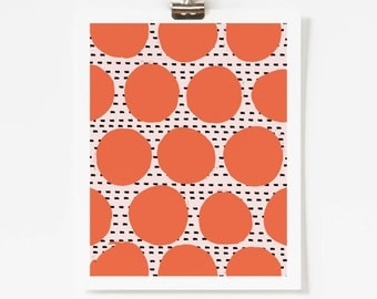 "Retro Artwork - Mid Century Modern Wall Art - Coral Graphic Art Print - Abstract Geometric Wall Art - 5x7"" 8x10"" 11x14"" Art for Nursery"