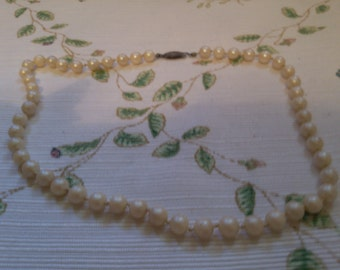 Faux Pearls with Silver Fish Hook Clasp