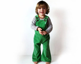 Green kids overalls SALE 15% childrens clothing flared St Patricks dungarees corduroy pants apple vintage retro style flares rainbow spring