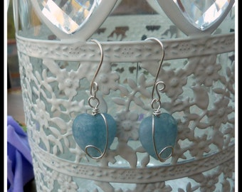 Aquamarine Heart Earrings, wire wrapped in Sterling Silver, March birthstone