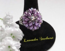 Lavender Ring Starburst Pattern with Swarovski Crystals and Silver Fire Polish Stretch Band