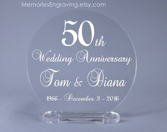 "Fancy Script 50th Golden Wedding Anniversary Cake Topper Keepsake 4"" - 7"" diameter available"