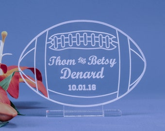 Football Sports Themed Wedding Cake Topper Personalized Decoration