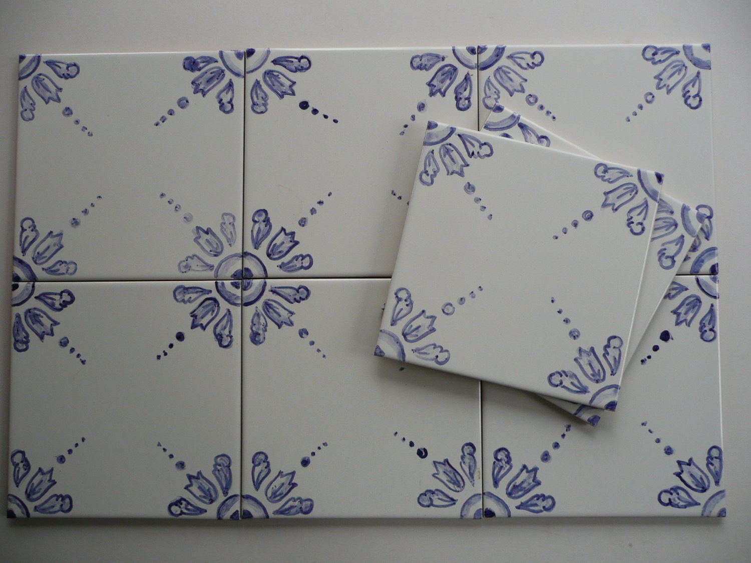 Blue And White Delft Style Handpainted Tiles 6x6