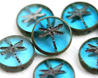 4pc Aqua Blue Dragonfly beads, picasso finish, czech glass beads, table cut, round, tablet shape, blue beads - 17mm - 0814