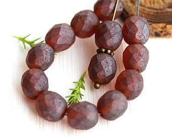 8mm Matte Brown Czech glass round beads, Dark Topaz fire polished, faceted beads - 15Pc - 2726