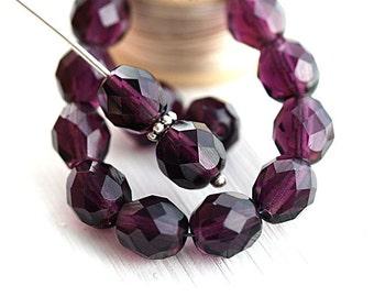 Dark Purple glass beads, 8mm beads, Czech glass, fire polished, purple glass beads - 15Pc - 2533