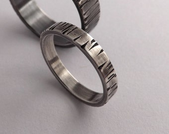 Textured Ring with Dark to Light Finish - Bark Texture - 3mm Wide Silver Ring