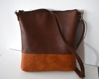 Two tone brown crossbody bag