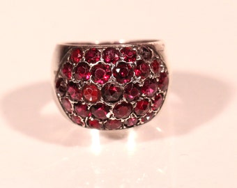 French 40s Sterling Garnets Ring With Internal Special This One Goes Out To Size 5.40 US