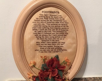 """Vintage """"Footprints"""" Religious Plaque with Silk Flowers / Religious Wall Hanging"""