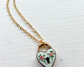 Art Deco Guilloche Enamel Gold Filled Padlock Necklace