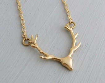 Deer Necklace .. gold necklace, stag necklace, 16k gold plated necklace, antler, reindeer