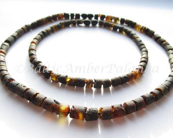 Set Of Raw Black Tube Shape Baltic Amber Baby Teething Beads for Baby Boy and Mommy/Daddy