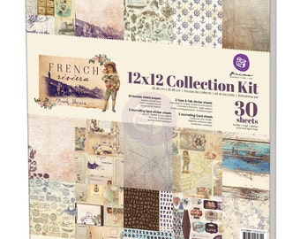 Prima French Riviera Collection Kit 12 x 12  Scrapbook New Release  In Stock Ready To Ship Paper, Stickers, Journaling Cards, Spot Stickers