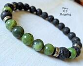 Nephite Jade, Men's bracelet, Tribal bracelet, Men's Lava bracelet, Men's Mala, Protection, jade bracelet, Healing mala, mala beads, mala