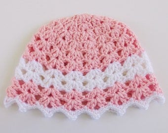 Crochet Baby Hat in Pink with White Stripe and Picot Brim
