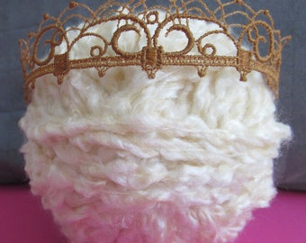 Newborn baby crown made out of stiffened gold-red venice lace collar applique