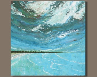 FREE SHIP large abstract painting, ocean painting, landscape painting, east coast turquoise blue, beach painting, wall art, art on canvas