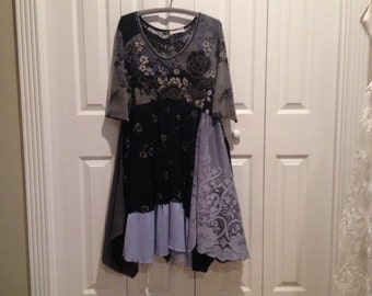 RESERVED......Tunic dress, Fairy dress, floral dress, Rustic hippie dress, gypsy dress, XL,