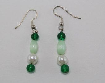 Green Bead Drop Earrings