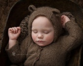 Bear Hooded Overalls, 9-12M Overalls, Photo Prop