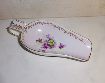Vintage Porcelain Ashtray With Spout Purple Flowers Looks Hand Painted