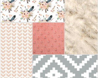 Baby Girl Crib Bedding - Feathers and Flowers, Gray Aztec, Coral Broken Chevron, Ivory Crushed Minky, and Coral Crib Bedding Ensemble