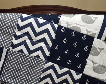 Nautical Patchwork Blankwt- White Gray Whales,  Navy Stripe, Gray Dot, Navy Chevron, and Navy Anchors Patchwork Blanket