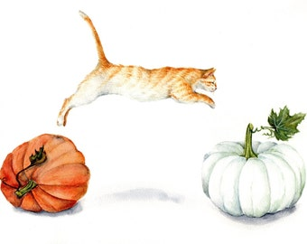 Fall Acrobatics - Art Print of Watercolor Painting tabby jumping orange cat white pumpkin thanksgiving autumn pumpkin harvest goosi studio