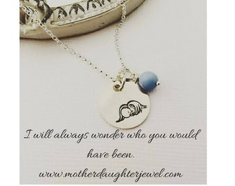 Sterling Silver Angel Baby Boy Loss Necklace - Baby Memorial Necklace - Baby Memorial Jewelry - Baby Loss Jewelry - Angel Jewelry