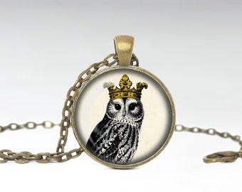 Owl With Crown Jewelry Owl Necklace Owl Glass Pendant Owl Necklace HHJ Original Jewelry