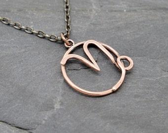 Collier de signe du zodiaque Capricorne de cuivre poli