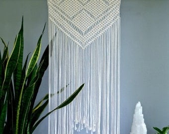 "Sale 20% Off Macrame Wall Hanging - Natural White Cotton Rope 24"" Dowel - Geometric Boho Home Nursery Decor - READY TO SHIP"