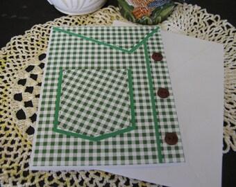 Green Checked Shirt Pocket Card