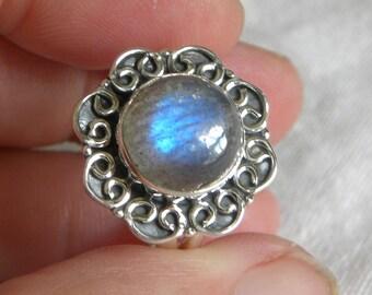 Labradorite Ring Handmade Ring 11x11mm Blue Labradorite Gemstone Ring Sterling Silver Ring Size 8 1/2 Ring Take 20% Off Labradorite Jewelry