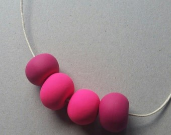 Polymer Bead Necklace - bright pink