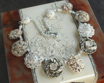 Statement Assemblage Necklace, creamy white, bridal wedding stunning gorgeous celluloid earrings jewelry repurposed recycled