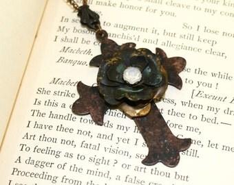 Boho Cross Necklace, Rusty Cross necklace, Rustic metal jewelry, Dark patina necklace, Dark patina jewelry