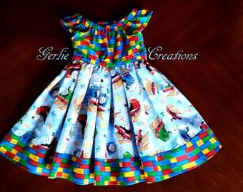 THOMAS the TRAIN Dress, Girls Dress, Thomas the Train, Thomas, Percy, James, Matilda Dress -  2T - 5